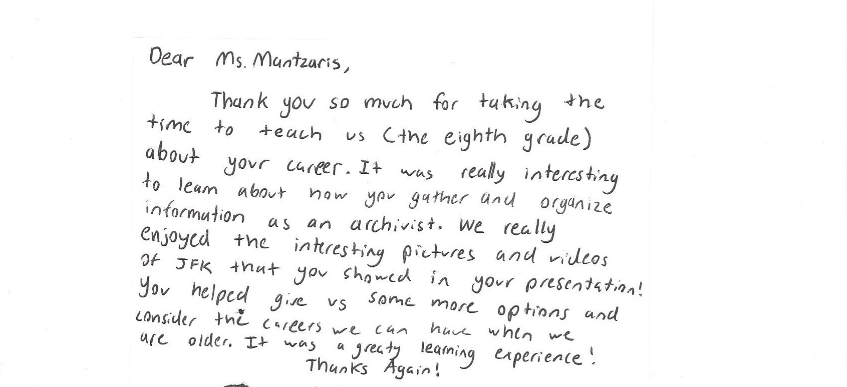 Career day thank you letter gallery letter format formal sample career day with middle school students an archivists report letter 1croppednamecropped x 2 expocarfo expocarfo